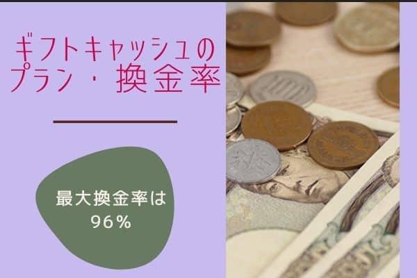 ギフトキャッシュのプラン・換金率